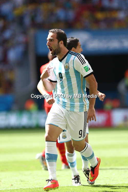 Fifa Soccer World Cup - Brazil 2014 - <br /> ARGENTINA (ARG) Vs. BELGIUM (BEL) - Quarter-finals - Estadio Nacional Brasilia -- Brazil (BRA) - 05 July 2014 <br /> Here Argentine player Gonzalo Higuain celebrating his goal. Scoring the match 1-0.<br /> &copy; PikoPress