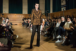 © Licensed to London News Pictures. 13/02/2020. LONDON, UK. A model wears a creation by Chanel Joan Elkayam at her AW20 showcase at Cecil Sharp House in Camden during London Fashion Week AW20.  Chanel Joan Elkayam is the youngest designer to have presented at the four major venues of London, Paris, Milan and New York.  Photo credit: Stephen Chung/LNP
