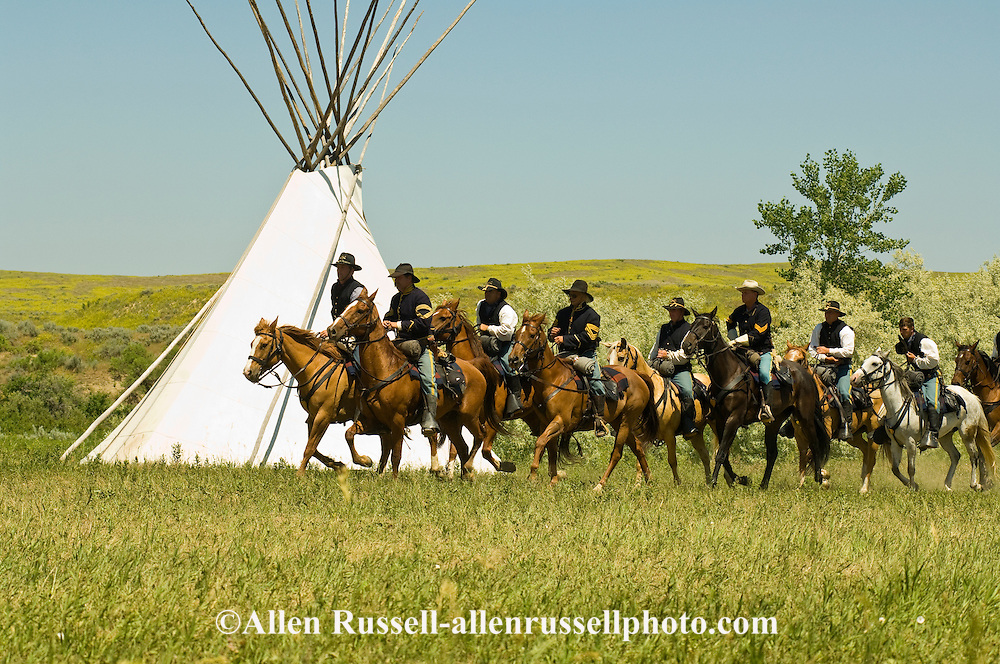 Custers Last Stand Reenactment, Battle of the Little Bighorn, Crow Indian Reservation, Montana, 7th Cavalry soldiers.