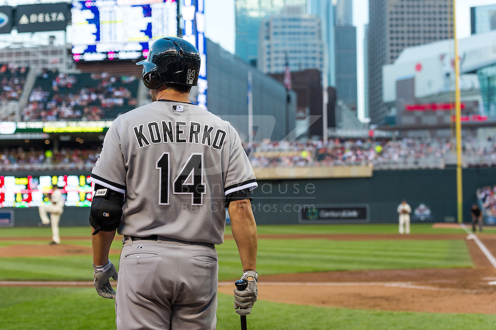Paul Konerko #14 of the Chicago White Sox waits on-deck during a game against the Minnesota Twins on June 19, 2013 at Target Field in Minneapolis, Minnesota.  The Twins defeated the White Sox 7 to 4.  Photo: Ben Krause