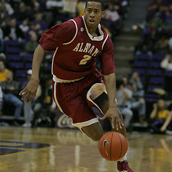 Jan 09, 2010; Baton Rouge, LA, USA;Alabama Crimson Tide guard Mikhail Torrance (2) drives with the ball against the LSU Tigers during the second half at the Pete Maravich Assembly Center. Alabama defeated LSU 66-49.  Mandatory Credit: Derick E. Hingle-US PRESSWIRE