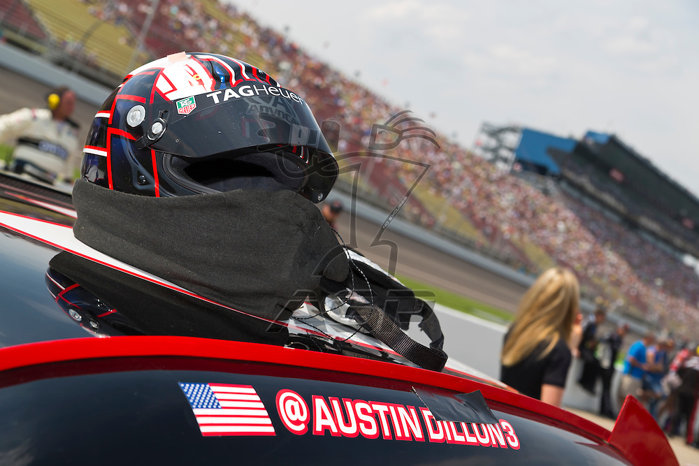 BROOKLYN, MI - JUN 16, 2012:  The car of Austin Dillon sits on pit road before the start of the Alliance Truck Parts 250 at the Michigan International Speedway in Brooklyn, MI.
