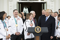April 27, 2018 - Washington, The District of Columbia, United States Of America - WASHINGTON, DC - WEEK OF APRIL 23: President Donald J. Trump welcomes athletes during a celebration for the Team USA Olympians, on the steps of the North Portico at the White House, Friday, April 27, 2018, in Washington, D.C...People:  President Donald Trump. (Credit Image: © SMG via ZUMA Wire)