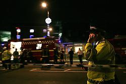 Anna Branthwaite, Camden, London<br /> 19/04/2014<br /> Emergency services rest after attending to a fire that started inside the Stables at Camden Market. <br /> Photo: Anna Branthwaite/LNP
