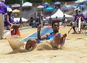 Caleb Foster of Clovis North California, placed second in the Boys Long Jump Finals with a jump of 7.48m (24.65) during the New Balance Outdoor Nationals, Sunday, June 16, 2019, in Greensboro, NC. (Brian Villanueva/Image of Sport)