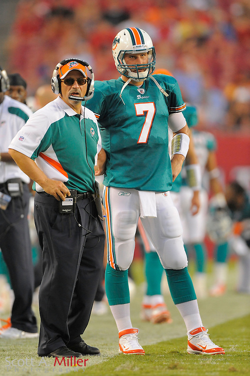Miami Dolphins head coach Tony Sparano and Miami Chad Henne (7) during  the Dolphins game against the Tampa Bay Buccaneers at Raymond James Stadium on Aug. 27, 2011 in Tampa, Fla...©2011 Scott A. Miller