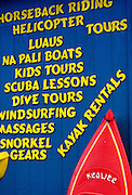 Image of Hanalei store sign, Kauai, Hawaii, Hawaiian Islands, America West