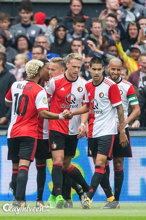 ROTTERDAM - Feyenoord - Real Sociedad , Voetbal , Seizoen 2017/2018 , Oefenwedstrijd , Traditionele openingswedstrijd , Feijenoord stadion De Kuip , 29-07-2017 , Feyenoord speler Nicolai Jorgensen (m) , Feyenoord speler Tonny Vilhena (l) Feyenoord speler Kevin Diks (2e r) en Feyenoord speler Karim El Ahmadi (r) vieren de 1-0 voorsprong