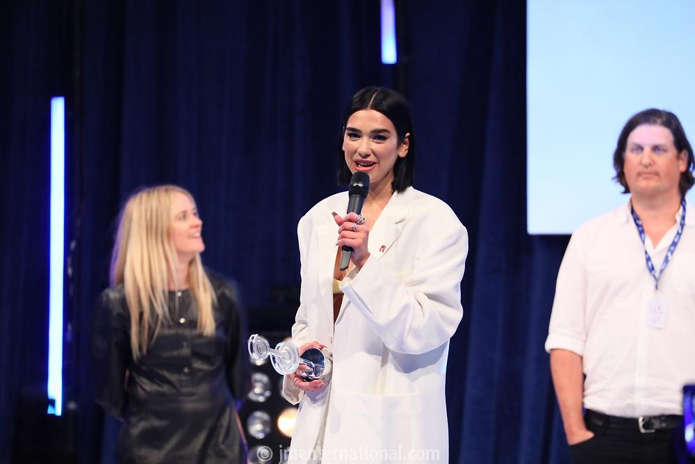 Dua Lipa accepts her award during the O2 Silver Clef Awards 2019, Grosvenor House, London, UK, Friday 05 July 2019<br /> Photo JM Enternational