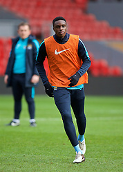 LIVERPOOL, ENGLAND - Sunday, February 7, 2016: Manchester City's Rodney Kongolo warms-up before the Under-21 FA Premier League match against Liverpool at Anfield. (Pic by David Rawcliffe/Propaganda)