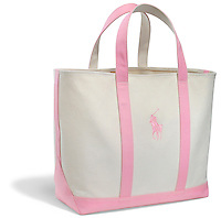 pink and white canvas bag by polo