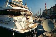 France, Provence, French Riviera, yachts in St.Tropez harbor..