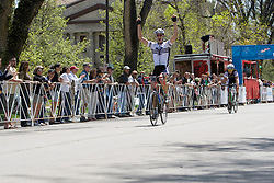 Craig Leukens (Yale University) beats Spencer Beamer (Furman University) to the line for the victory.  The 2008 USA Cycling Collegiate National Championships Criterium men's division 2 event held in Fort Collins, CO on May 11, 2008.