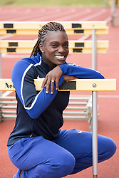 © Licensed to London News Pictures. 28/7/2016. Birmingham, UK.  More than 150 athletes, officials and staff representing USA Track & Field (USATF) are staying in Birmingham at the end of July, ahead of the IAAF World Championships in London. Pictured, 100m Hurdler Dawn Harper-Nelson at the Birmingham track. Photo credit: Dave Warren/LNP