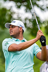 May 4, 2019 - Charlotte, NC, U.S. - CHARLOTTE, NC - MAY 04: Sebastian Munoz hits from the 4th hole tee box during the third round of the Wells Fargo Championship at Quail Hollow on May 4, 2019 in Charlotte, NC. (Photo by William Howard/Icon Sportswire) (Credit Image: © William Howard/Icon SMI via ZUMA Press)