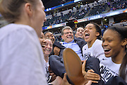 April 5, 2016; Indianapolis, Ind.; Connecticut Huskies head coach Geno Auriemma is carried off the court by his team after the NCAA Division I Women's Basketball National Championship game at Bankers Life Fieldhouse between UConn and Syracuse. The Huskies defeated the Orange 82-51 to claim an unprecedented fourth straight national championship.
