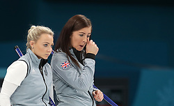 Great Britain's (left-right) Anna Sloan and skipper Eve Muirhead appear dejected after defeat during the Women's Semi-Final against Sweden at the Gangneung Curling Centre during day fourteen of the PyeongChang 2018 Winter Olympic Games in South Korea.