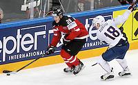 Nathan Mackinnon / Yohann Auvitu - 09.05.2015 - Canada  / France  - Championnats du Monde de Hockey sur Glace 2015 -Prague<br />Photo : Xavier Laine / Icon Sport *** Local Caption ***