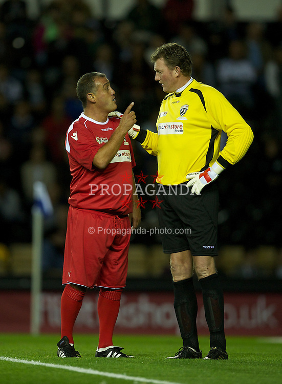 DERBY, ENGLAND - Thursday, September 8, 2011: Wales' Malcolm Allen and England's Dave Beasant during a legends match at Pride Park. (Pic by David Rawcliffe/Propaganda)