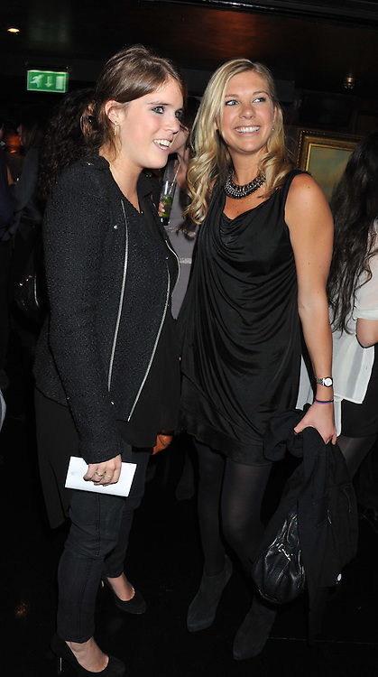 Left to right, PRINCESS EUGENIE OF YORK and CHELSY DAVY at the launch of Beulah's collaboration with Hennessy Gold Cup and a preview of the SS13 Collection held at The Brompton Club, 92b Old Brompton Road, London SW7 on 18th October 2012.