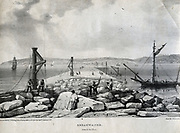 Construction of Plymouth Breakwater, Devon, England, 1812-1848.