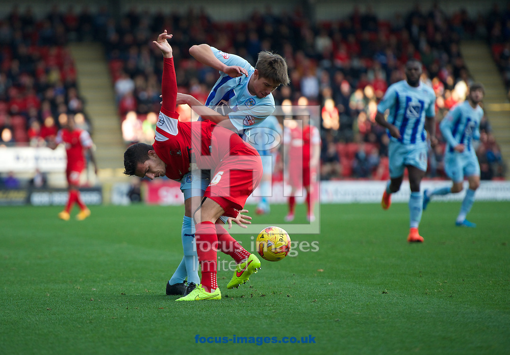 Mathieu Baudry of Leyton Orient  tussles with John Fleck of Coventry City during the Sky Bet League 1 match at the Matchroom Stadium, London<br /> Picture by Alan Stanford/Focus Images Ltd +44 7915 056117<br /> 01/11/2014