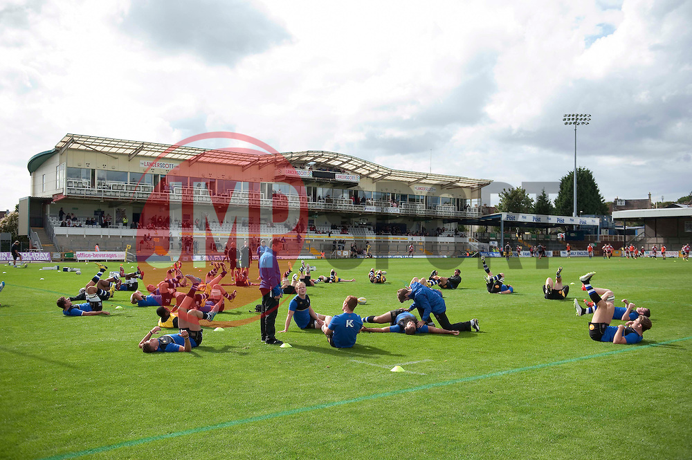 The Bath Rugby team warm-up prior to the match - Mandatory byline: Patrick Khachfe/JMP - 07966 386802 - 13/09/2015 - RUGBY UNION - Memorial Stadium - Bristol, England - Gloucester Rugby v Bath Rugby - West Country Challenge Cup.