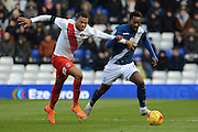 Charlton Athletic midfielder Jordan Cousins and Birmingham City midfielder Jacques Maghoma battle during the Sky Bet Championship match between Birmingham City and Charlton Athletic at St Andrews, Birmingham, England on 21 November 2015. Photo by Alan Franklin.