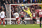 Sheffield United goalkeeper George Long makes save during the Sky Bet League 1 match between Sheffield Utd and Bradford City at Bramall Lane, Sheffield, England on 28 December 2015. Photo by Ian Lyall.
