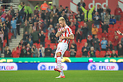 Stoke City forward Marko Arnautovic  celebrates after scoring a goal during the EFL Cup match between Stoke City and Hull City at the Britannia Stadium, Stoke-on-Trent, England on 21 September 2016. Photo by John Marfleet.