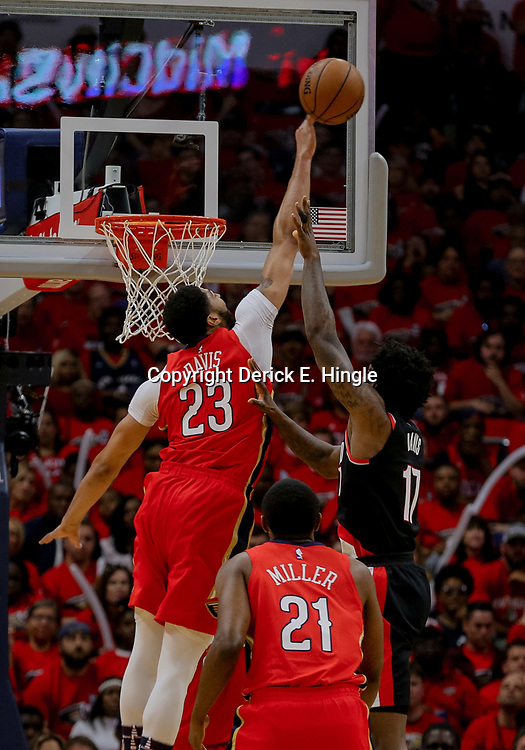 Apr 21, 2018; New Orleans, LA, USA; New Orleans Pelicans forward Anthony Davis (23) blocks a shot by Portland Trail Blazers forward Ed Davis (17) during the first quarter in game four of the first round of the 2018 NBA Playoffs at the Smoothie King Center. Mandatory Credit: Derick E. Hingle-USA TODAY Sports