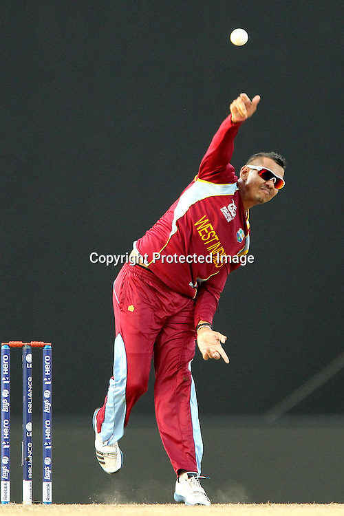 Sunil Narine of The West Indies during the ICC World Twenty20 Super Eights match between The West Indies and New Zealand held at the  Pallekele Stadium in Kandy, Sri Lanka on the 1st October 2012<br /> <br /> Photo by Ron Gaunt/SPORTZPICS/PHOTOSPORT