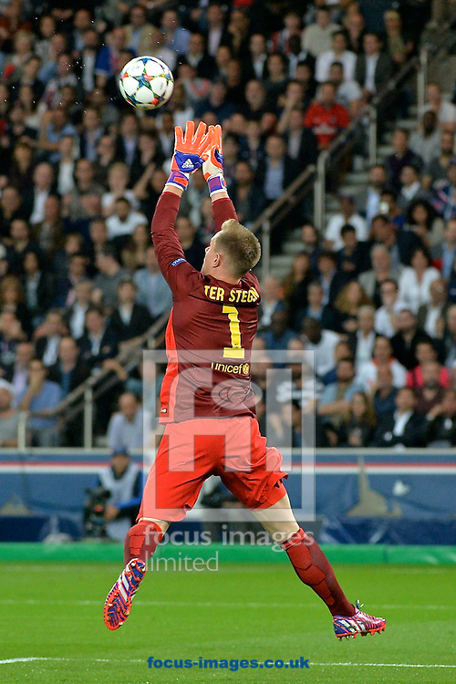 FC Barcelona goalkeeper Marc-Andr&eacute; ter Stegen claims the ball during the UEFA Champions League Quarter-final match at Parc des Princes, Paris<br /> Picture by Ian Wadkins/Focus Images Ltd +44 7877 568959<br /> 15/04/2015