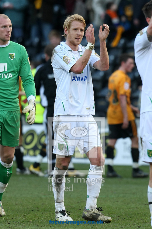 Hull - Saturday March 19th, 2011: Zac Whitbread of Norwich applauds the traveling support at the end of the Npower Championship match at The KC Stadium, Hull. (Pic by Paul Chesterton/Focus Images)