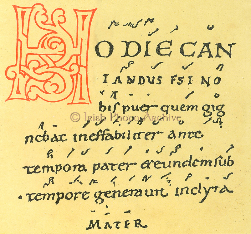Musical notation. 10th century manuscript of Gregorian chant  of Tutilo's Trope 'Hodie Cantandus', written in Neums notation which was superseded by Staff notation. Tutilo or Tuathal (d915) Irish Benedictine monk, musician and poet at the Abbey of St Gall, Switzerland.