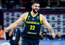 Ziga Dimec of Slovenia celebrates during basketball match between National Teams of Slovenia and Spain at Day 15 in Semifinal of the FIBA EuroBasket 2017 at Sinan Erdem Dome in Istanbul, Turkey on September 14, 2017. Photo by Vid Ponikvar / Sportida