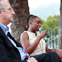 Chimamanda Ngozi Adichie and Walter Veltroni in Capri for the Conversations, Le Conversazioni, Capri, Campania, Italy. 25 June 2010 <br /> <br /> copyright Steve Bisgrove/Writer Pictures<br /> contact +44 (0)20 822 41564<br /> info@writerpictures.com<br /> www.writerpictures.com