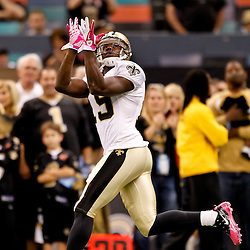 October 3, 2010; New Orleans, LA, USA; New Orleans Saints wide receiver Devery Henderson (19) during warm ups prior to kickoff of a game between the New Orleans Saints and the Carolina Panthers at the Louisiana Superdome. Mandatory Credit: Derick E. Hingle