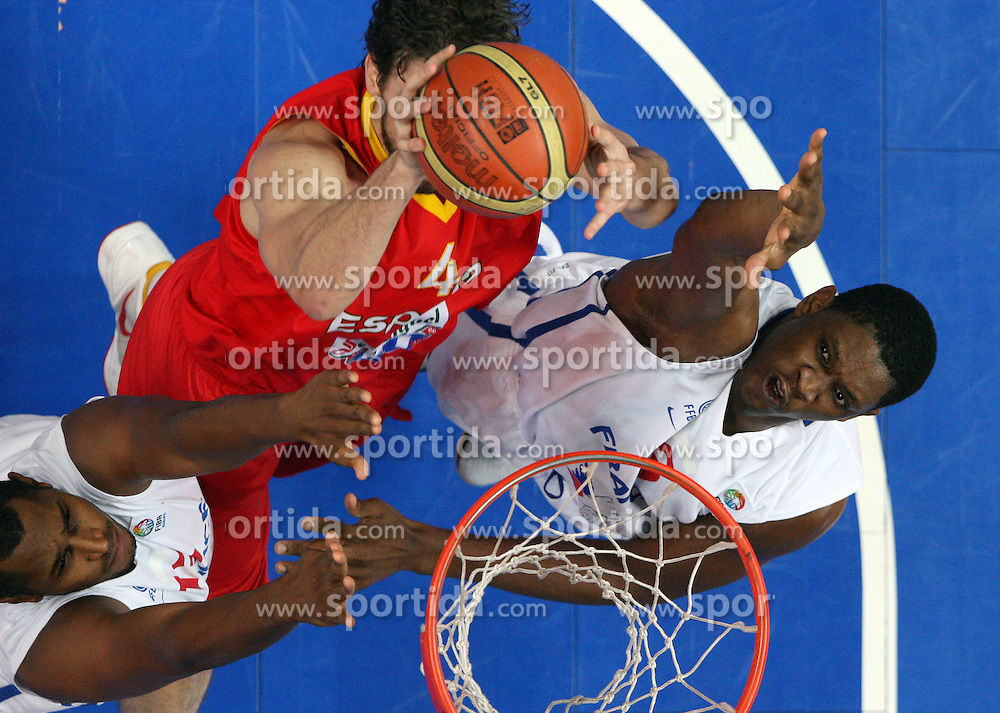 Pau Gasol of Spain vs Boris Diaw of France and Kevin Seraphin of France during basketball game between National basketball teams of France and Spain at FIBA Europe Eurobasket Lithuania 2011, on September 11, 2011, in Siemens Arena,  Vilnius, Lithuania. Spain defeated France 96-69. (Photo by Vid Ponikvar / Sportida)