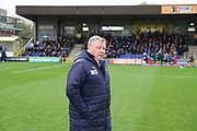 AFC Wimbledon manager Wally Downes walking onto the pitch during the EFL Sky Bet League 1 match between AFC Wimbledon and Accrington Stanley at the Cherry Red Records Stadium, Kingston, England on 6 April 2019.
