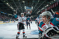 KELOWNA, CANADA - MARCH 14: Nick Merkley #10 and Rourke Chartier #14 of Kelowna Rockets celebrate a first period goal against the Kamloops Blazers on March 14, 2015 at Prospera Place in Kelowna, British Columbia, Canada.  (Photo by Marissa Baecker/Shoot the Breeze)  *** Local Caption *** Nick Merkley; Rourke Chartier;