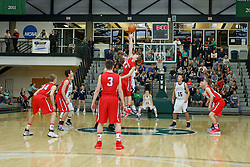 21 January 2017: IHSA Boys Basketball game during the McLean County Tournament at Shirk Center in Bloomington Illinois - DeeMack (Deer Creek Mackinaw) Chiefs v Ridgeview Mustangs