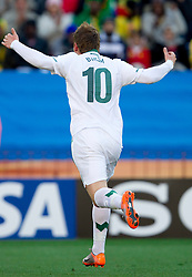 Valter Birsa of Slovenia celebrates after he scored during the 2010 FIFA World Cup South Africa Group C match between Slovenia and USA at Ellis Park Stadium on June 18, 2010 in Johannesberg, South Africa. (Photo by Vid Ponikvar / Sportida)