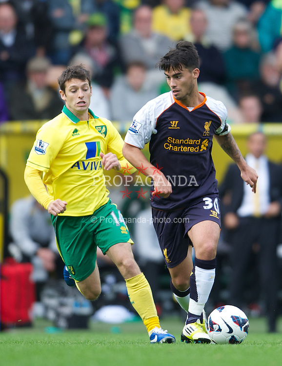 NORWICH, ENGLAND - Saturday, September 29, 2012: Liverpool's 'Suso' Jesus Joaquin Fernandez Saenz De La Torre in action against Norwich City during the Premiership match at Carrow Road. (Pic by David Rawcliffe/Propaganda)
