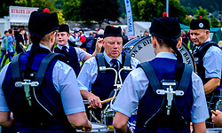 Peebles, Scotland UK  3rd September 2016. Peebles Highland Games, the biggest 'highland' games in the Scottish  Borders took place in Peebles on September 3rd 2016 featuring pipe band contests, highland dancing competitions, haggis hurling, hammer throwing, stone throwing and other traditional events.<br /> <br /> Pictured:  drummers warming up before competition<br /> <br /> (c) Andrew Wilson | Edinburgh Elite media