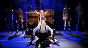 The Threepenny Opera <br /> by Bertolt Brecht and Kurt Weill<br /> In a new adaptation by Simon Stephens<br /> directed by Rufus Norris, at the Olivier Theatre, National Theatre, Southbank, London, Great Britain <br /> 25th May 2016  <br /> <br /> <br /> <br /> Rory Kinnear at Macheath<br /> Rosalie Craig as Polly Peachum<br /> <br /> <br /> <br /> Photograph by Elliott Franks <br /> Image licensed to Elliott Franks Photography Services