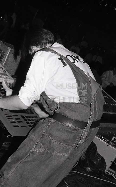 808 state member jamming on the set, Piccadilly venue, Manchester, 1989.