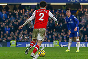 GOAL 2-2 Arsenal defender Héctor Bellerín (2) scores during the Premier League match between Chelsea and Arsenal at Stamford Bridge, London, England on 21 January 2020.