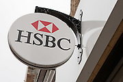 A sign hangs outside the HSBC bank on Stoke Newington High Street, Hackney, London.