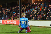 Scunthorpe United player Kevin van Veen (10) scores goal to go 2-0 during the EFL Sky Bet League 2 match between Scunthorpe United and Colchester United at Glanford Park, Scunthorpe, England on 14 December 2019.